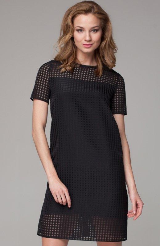 Nommo NA97 sukienka czarna Urocza sukienka, krótki rękaw, wykonana z siateczkowej tkaniny