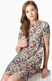 Click Fashion Sana sukienka Dzianinowa sukienka o luźnym kroju, model zwężany ku dołowi, posiada kolorowy nadruk