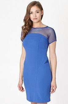 Click Fashion Weria sukienka Elegancka sukienka, dopasowany fason, elastyczna sukienka w pięknym szafirowym kolorze