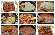 Gulasz węgierski - przepis 60 dag wieprzowiny (np. łopatka, karkówka) 3 cebule 4 łyżki smalcu łyżka ostrej papryki w proszku 3 strąki zielonej papryki ząbek czosnku ok. 3/4 szkl...