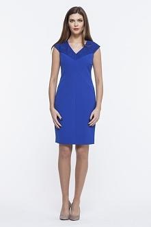 Ołówkowa elegancka sukienka niebieska