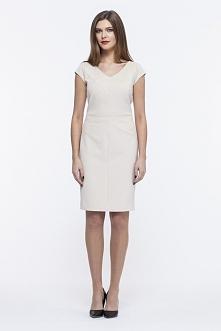 Ołówkowa elegancka sukienka beżowa