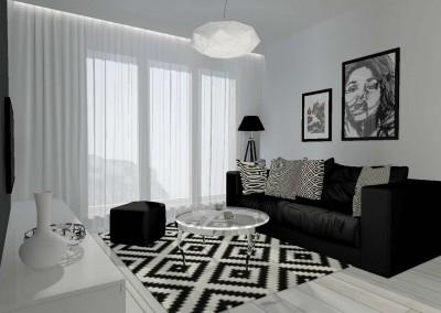Projekt (aranżacja) salonu z aneksem kuchennym, wykonane przez architekta wnętrz z Mobiliani Design dla jednego z mieszkań na osiedlu Arkada w Bydgoszczy. Jasno-szara kolorystyka z mocnymi, ciemnymi akcentami nadają swoistego stylu i elegancji pomieszczeniom. Aranżacja przeznaczona wymagających osób o ukształtowanym poczuciu stylu.