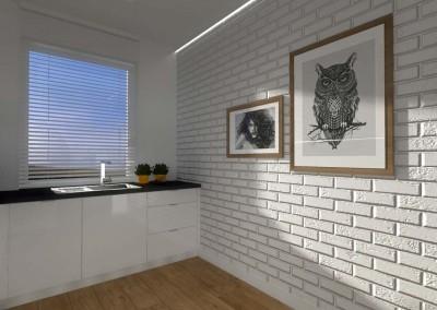 Druga wersja aranżacji kuchni. Tym razem w projekcie projektant wnętrz zaproponował ściankę z białych cegieł.