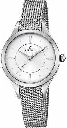 srebrny zegarek damski na pięknej, plecionej bransolecie