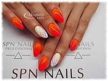 Wild Mandarin + Wild Pink i mix kolorowych kropeczek   Nails by Monika, Studio Magnetic Nails Monika Sokołowska Kielce, SPN Intructor