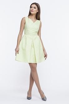 Rozkloszowana sukienka wizytowa limonkowa