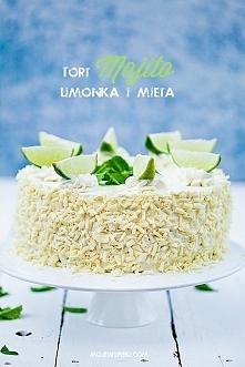 Tort Mojito  Składniki na biszkopt:  5 dużych jajek 3/4 szklanki drobnego cukru do wypieków 3/4 szklanki mąki pszennej (tortowej) 1/4 szklanki mąki ziemniaczanej /szklanka o poj...