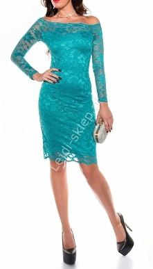 Koronkowa sukienka z dekoltem Carmen, szmaragdowa