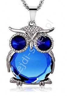 Niebieski duży naszyjnik z kryształową sową