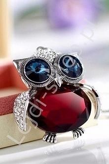 Naszyjnik kryształkowa czerwona sowa | posrebrzana sowa
