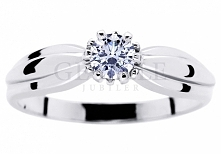 Ponadczasowy pierścionek z kolekcji zaręczynowy - białe złoto próby 585, duży...