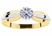 Klasyczny pierścionek zaręczynowy z dwóch kolorów złota z brylantem - model i...