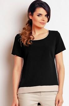 Awama A140 bluzka czarna Modna bluzka, krótki rękaw, okrągły dekolt