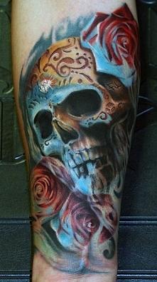 tatuaże 3d czaszka z różami