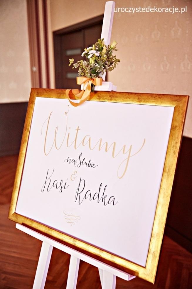 Welcome to our wedding. Witamy na ślubie, tablica weselna witamy gości