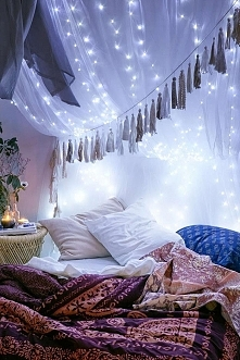 Drape lights on top of your canopy