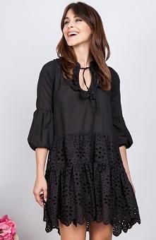 Milu MP144 sukienka czarna Elegancka sukienka, luźny fason, długie rękawy