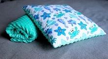 Kocyk bawełna + minky 75x100 cm oraz poduszka 40x40 cm.