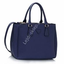 Angielska torebka kuferek w stylu Prada Mini Saffiano Lux Tote Bag - granatowa