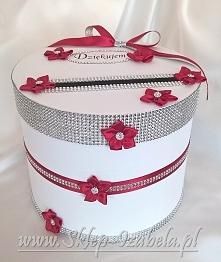 Okrągłe pudełka na ślub i wesele z przeznaczeniem na koperty, telegramy i kar...