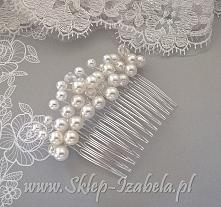 Ozdobny grzebyk ślubny do włosów z perełkami, dla Panny Młodej.