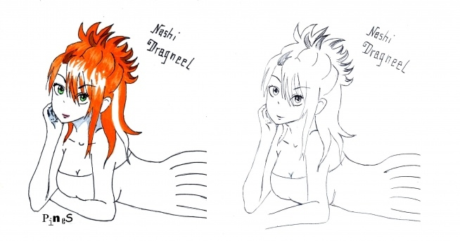 Bonusowo Nashi. Tak sobie ją wymyśliłam. Rudą, bo z żółtego i różowego wychodzi pomarańczowy (Asuka też ma włosy koloru pośredniego miedzy rodzicami, więc tym się kierowałam ). Czemu białe pasemko dowiecie się w komiksie. Wzorowałam się tu na takim jednym rysunku Lucy.