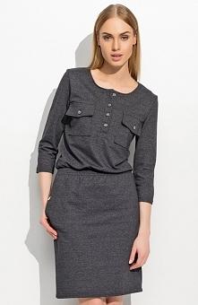 Makadamia M310 sukienka grafitowa Elegancka sukienka, wykonana z wysokiej jakości tkaniny, rekaw 3/4