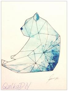 Mój geometryczny Misiek akwarela