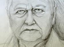 portret znanego aktora; pierwsza faza szkicu; nieskońćzony; rok 2012r
