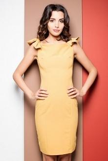 Żółta ołówkowa sukienka bez...