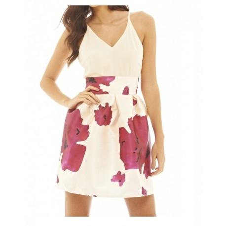 Modna sukienka rozkloszowana w kwiaty 2 w 1 z szyfonowym topem na ramiączkach