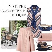 Romantycznie i elegancko, pudrowa spódnica i bluzka w paski=letni, niezobowiązujący look.