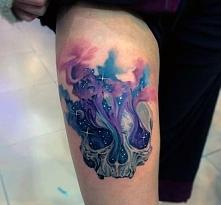 tatuaże 3d czaszka na udzie