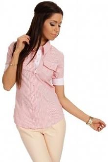 Elegancka taliowana koszula z krótkim rękawem. Mankiety można odpiąć i wywijać. Z przodu i z tyłu podłużne przeszycia modelujące sylwetkę.  Sklep Allettante.pl
