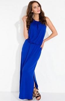 Fobya L102 sukienka chabrowa Efektowna sukienka, odsłaniająca plecy i ramiona, wiązana z tyłu na szyi