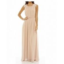 Długa sukienka na wesele szyfonowa z koronkowymi rękawkami nude