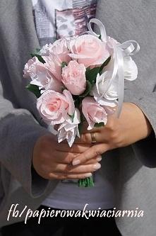 Bukiet ślubny z krepiny- moje rękodzieło