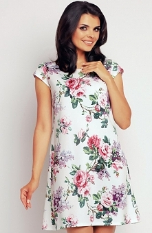 Awama A146 sukienka róże Niepowtarzalna sukienka, wykonana z przepięknej kolorowej tkaniny, sukienka z krótkim rękawem