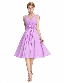 Szyfonowa wrzosowa sukienka z kokardą| sukienki wieczorowe , r.34 -54