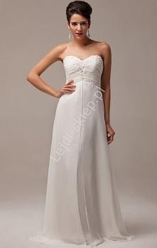 Suknia ślubna z kryształkam...