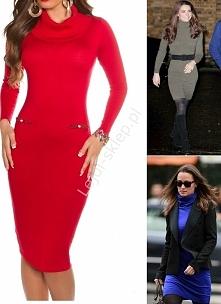 Czerwona dzianinowa sukienka z golfem w stylu Kate Middleton