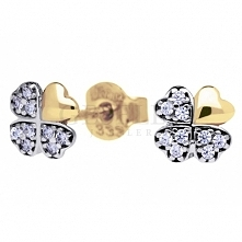 Subtelne i delikatne złote kolczyki w kształcie koniczynek - cyrkonie na trzech płatkach - kolekcja GESELLE Jubiler