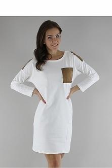 Sklep Allettante.pl dział Sukienki Rewelacyjna prosta sukienka z kontrastowymi pagonami i kieszonką w kolorze camel. Jest miękka, wygodna i świetnie sią układa. Bardzo uniwersal...