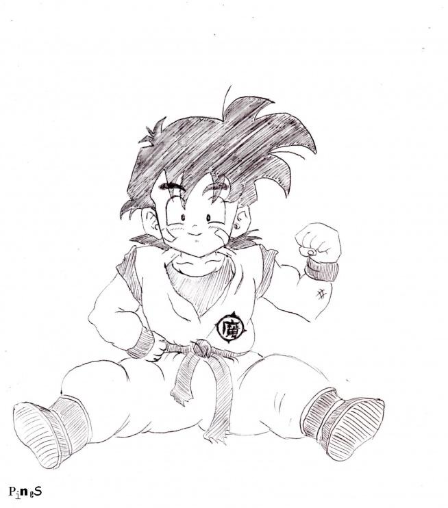 Gohan (właściwie przerysowany, ale jest).  Dragon Ball anime z mojego dziecinstwa.