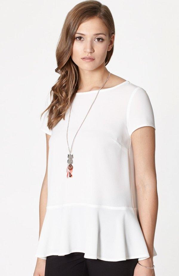 Click Fashion Hadera bluzka biała Elegancka bluzka, w kolorze limonkowym z ozdobną falbanką na dole, okrągły dekolt, krótki rękaw