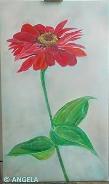 Czerwony kwiat (olej na płótnie) (kliknij na foto)