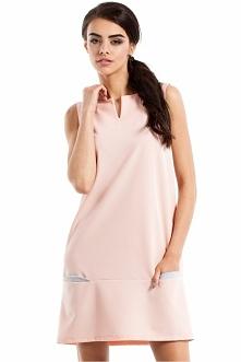 Nowość w 3 modnych kolorach! Prosta sukienka bez rękawów z tiulowymi wstawkam...