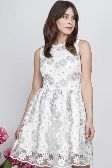 Wizytowa letnia sukienka z koronki srebrna