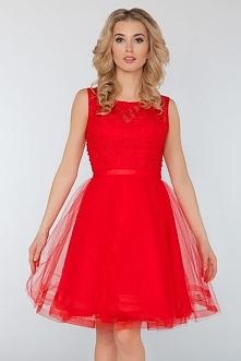 Sukienka na wesele - Wieczorowa koronkowa sukienka z perełkami czerwona